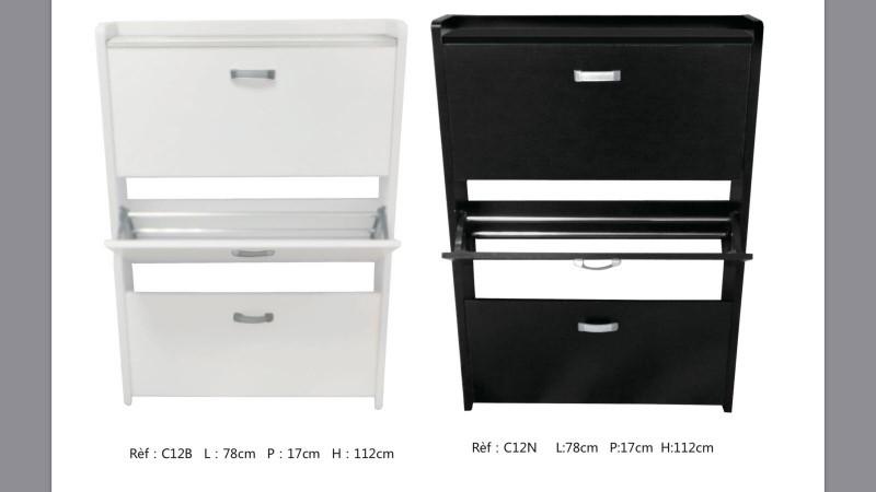 meuble chaussure 3 abattants blanc ou noir tr s logeable par sa faible profondeur discount. Black Bedroom Furniture Sets. Home Design Ideas